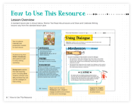 Jump into Writing! lesson overview screen shots