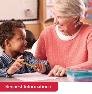 Woman and child request information button